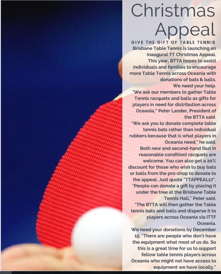 Christmas Appeal Table Tennis 2017